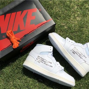 Off White x Air Jordan 1 AQ0818-100 Basketball Shoe