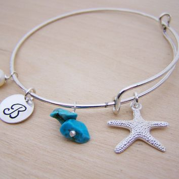 Personalized Initial Starfish Nautical Freshwater Pearl Silver Adjustable Bangle Bracelet / Gift for Her