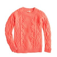 GIRLS' POM-POM CABLE SWEATER