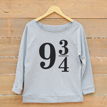 Platform 9 3/4 shirt graphic tumblr funny tshirt sign shirt quote trendy shirt women off shoulder sweatshirt slouchy jumper women sweatshirt