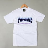 Thrasher Magazine Blue Flame Logo White & Black T-Shirt