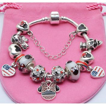 BAOPON Fashion Steel Bangle Enamel Cute Mouse Charms Fit European Charm Bracelet&Bangle Vintang Love Pandora Bracelet For women