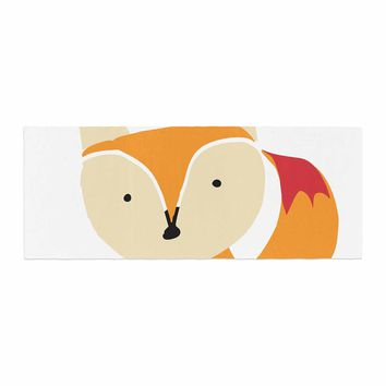"bruxamagica ""Cute Fox"" Orange White Animals Kids Illustration Bed Runner"