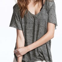 Gray V-neck Short Sleeve T-shirt