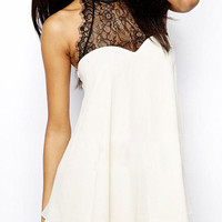 White Sleeveless Halter Lace Bow Chiffon A-Line Mini Dress
