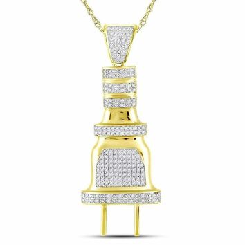 10kt Yellow Gold Mens Round Diamond Electric Plug Socket Charm Pendant 1-2 Cttw