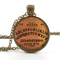 Vintage Ouija Board Pendant - Necklace - Antique Style Spirit World Pendant and Gift Bag - Picture Jewelry