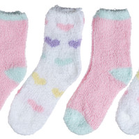 4-Pack Microfiber Fuzzy Printed Cozy Heart Girls Socks