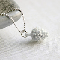 Snow Dusted White Pinecone Pendant - Winter and Christmas Jewelry - Woodland Necklace