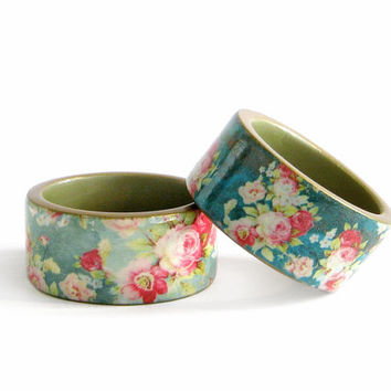 Turquoise Floral Bracelet Wooden Bracelet Vintage Roses Floral Bracelet Wood Bangle Decoupage Cottage chic Jewelry