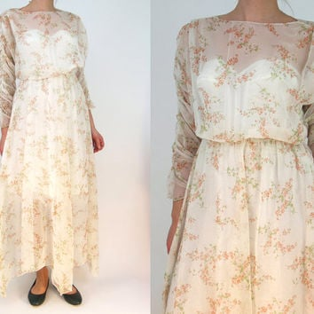 ethereal sheer long dress dress XS // garden wedding floral maxi dress // ruched sleeves hippie