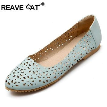 REAVE CAT Women flat Ladies summer shoes Cut out Female mujer Round toe Flower Low heel Big size 40 41 42 43 44 45 46 47 Cute