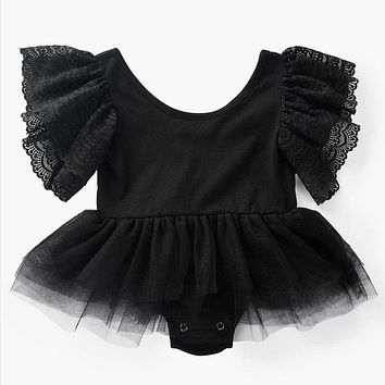 Newborn Mesh Flying Sleeve Baby Girl Rompers Backless Ruffle Mesh Infant Baby Baby Clothes Solid Cotton Jumpsuit