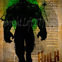 Avengers - Hulk -  Vintage Silhouette print  - Retro Super Hero Art - Dictionary print art