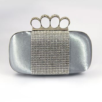 """Evening Purse Collection 7.25""""X2.25""""X5.25"""" Silver"""