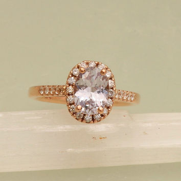 Lavender Sapphire Engagement Ring in 14k Rose Gold Diamond Halo Weddings Anniversary For Her