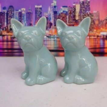 Threshold French Bulldog Salt & Pepper Shakers Set Aqua Turquoise Stoneware NWT