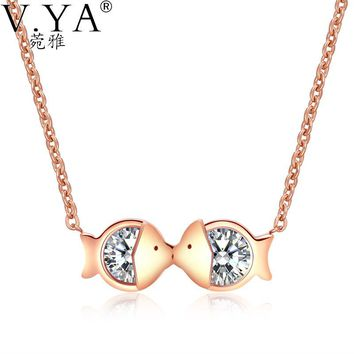 Women's Crystal Kissing Fish Pendant Necklace Stainless Steel Silver Rose Gold Color