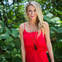 Crochet Fringe Dress in Red