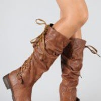 Tina-33 Lace Up Slouchy Riding Knee High Boot