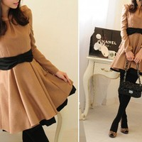 Bow pointed Layered flare Wool winter dress