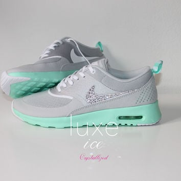 Nike Air Max Thea shoes w Swarovski Crystals detail - gray - tiffany mint 5db27497369d