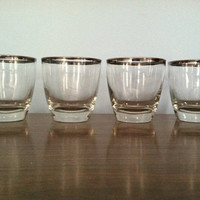 Roly Poly Dorothy Thorpe silver rim rocks glass set of 4/ wedding gift