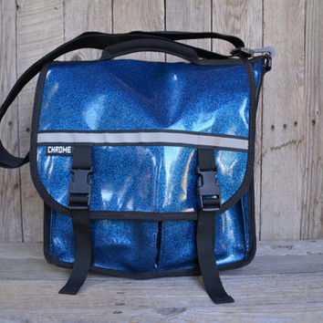 Vintage Chrome Blue Glitter Sparkle Messenger Bag Backpack