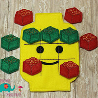 Building Block Tic Tac Toe game embroidered board game activity travel quiet game busy bag felt board play set lego blockman