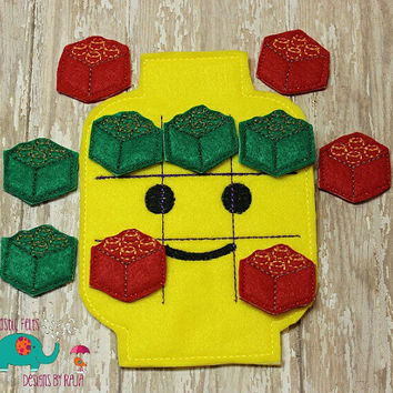 Toy building block lego tic tac toe game embroidered, board game activity travel game quiet game busy bag felt board play set