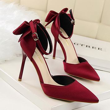 Ankle Strap Satin Bow Back Pointed  High Heels Pumps