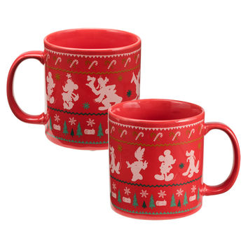 Disney by Vandor Mickey Mouse Holiday Ugly Sweater 20 oz Ceramic Coffee Mug New