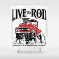 1956 FORD PICK-UP Workin' Hot Rod series Shower Curtain by SCREAMNJIMMY