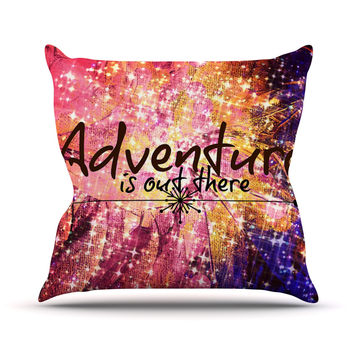 "Ebi Emporium ""Adventure is Out There"" Pink Typography Throw Pillow"