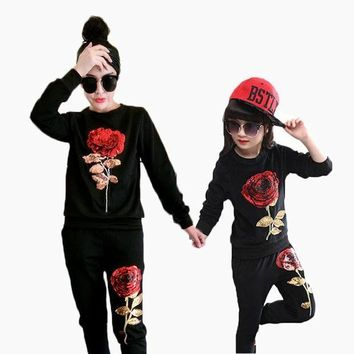 ESBONJ Mother And Daughter Clothes Set Sequins Rose Girls Clothing Set Sport Family Look Clothing Set Shirt With Pants Woman Tracksuit