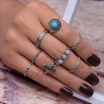 TOMTOSH 2017 8PCS/Set Bohemia Vintage Leaf Jewelry Unique Carving Tibetan Ring for Woman Punk Boho Opal Ring Sets