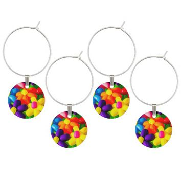 Toy Balloon Flowers Wine Glass Charm