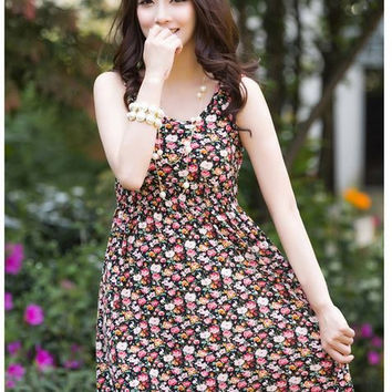 Ladies Black Floral Dress