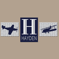 AIRPLANE Wall Art, Baby Boy Nursery Decor, PLANE Artwork, AVIATION Theme Pictures, Personalized Boy Name Initial, Big Boy Bedroom Set of 3