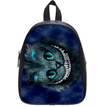 Alice In Wonderland (Cheshire Cat Line Drawing) School Backpack Large