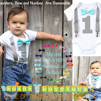 Boys First Birthday Outfit - Baby Boy Birthday Clothes -1st Birthday - Grey Blue Aqua Birthday - First Birthday - Suspenders Bow Tie - Shirt