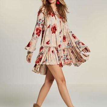 V-Neck Flower Print Women's Day Dress