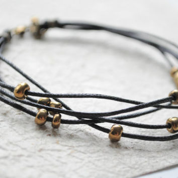 Beach Bracelet No3  Black linen cord and by littlejarofhearts