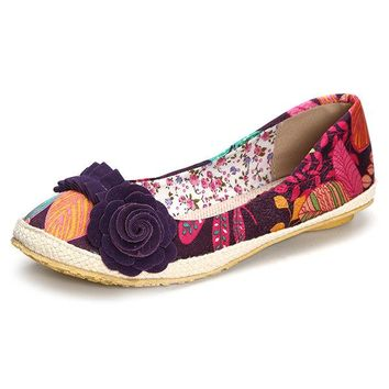 Big Size Flower Colorful Vintage Casual Flat Loafers For Women
