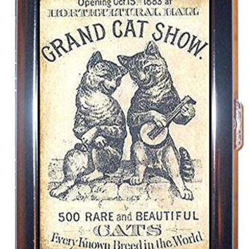 Cat Play Banjo 1883 Show Poster Comic Fun! Stainless Steel ID or Cigarettes Case (King Size or 100mm)