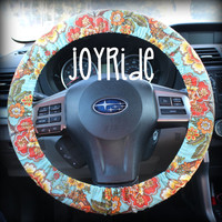 Steering Wheel Cover Blue Boho Vintage Coral Bohemian Flowers w/ Matching Keychain Option - Present for Girls Car Accessories