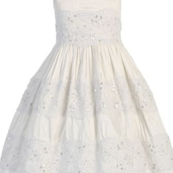 100% Silk & Floral Lace Off White First Holy Communion Dress Girls Size 6 to 14