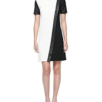 St. John. Black Milano Knit Colorblock Dress With Leather