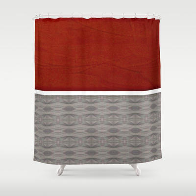 Red And Grey Graphic Shower Curtain By From Society6 For The