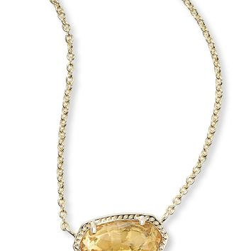 Kendra Scott Elisa Orange Citrine Gold Necklace